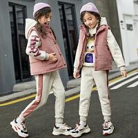 女童套装秋冬中大童儿童冬款加绒保暖三件套