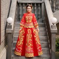 秋冬新款新娘结婚秀禾服中式礼服嫁衣敬酒服秀和服龙凤褂 红色