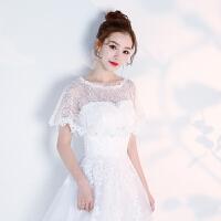 新娘春夏蕾丝披肩大码一字伴娘演出套头结婚纱礼服薄款斗篷黑灰色