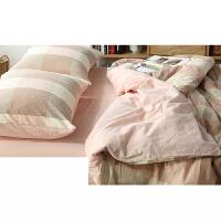 无印水洗棉四件套裸睡约大格纹床上用品纯色床笠被套良品定制