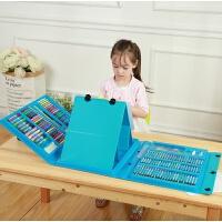 儿童画笔套装绘画水彩笔小学生画画工具文具美术用品女孩生日礼物 蓝色双画架 送画本+礼品袋