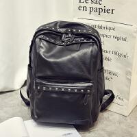 时尚铆钉双肩包韩版潮流男士背包PU个性学生书包休闲电脑包旅行包