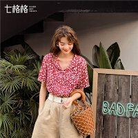 七格格衬衫女2019新款夏季韩版宽松显瘦娃娃领潮时尚碎花短袖上衣