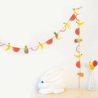 儿童生日派对布置用品水果彩旗儿童宝宝生日派对周岁横幅挂旗拉条三角旗装饰布置用品 总长约2米