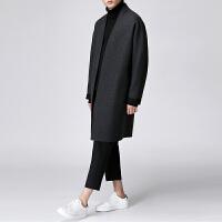 冬季中长款羊毛呢大衣男韩版宽松风衣男士呢子外套青年羊绒大衣潮 黑色 S