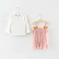 童装女童洋气春装儿童吊带背心裙两件套婴儿宝宝套装春秋