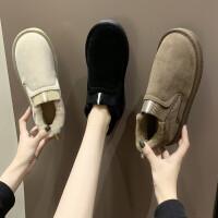 情侣雪地靴女短筒冬季百搭平底短靴学生面包鞋网红一脚蹬低帮棉鞋