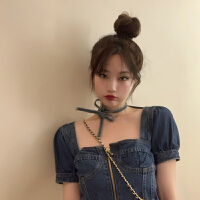 牛仔衬衫上衣女设计感小众方领泡泡袖上衣春夏新款韩版短袖衬衣潮