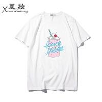 夏妆夏装新款韩版个性印花男女款情侣装短袖T恤纯棉圆领半袖 X