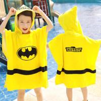 超人蝙蝠侠儿童浴巾舒适毛巾带帽斗篷宝宝披风沙滩巾浴袍套头浴衣