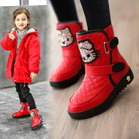 女童靴子冬季新款儿童雪地靴短靴加绒大棉鞋子保暖棉靴