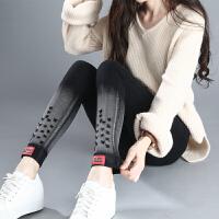打底裤加绒加厚女冬外穿新款韩版高腰弹力牛仔黑色小脚铅笔裤