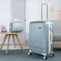 20寸男行李箱24寸女万向轮18寸拉杆箱旅行箱包登机箱密码箱潮包 银色 子母箱