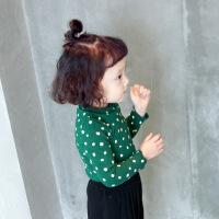 童装女童打底衫长袖高领春装宝宝波点上衣新款小童t恤衣服潮