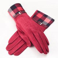 女士手套麂皮绒手套女士秋冬显瘦触摸屏加绒加厚保暖手套