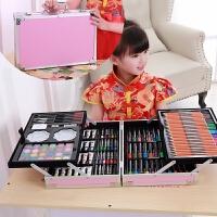儿童画画笔绘画套装幼儿园水彩笔美术学习用品女孩生日六一节礼物礼品文具 粉色铝盒200件 围裙画本礼袋