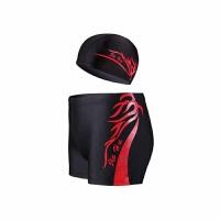 新款男士平角泳裤温泉大码泳裤时尚男游泳衣泳帽装备