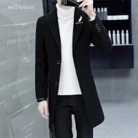 呢子大衣男中长款韩版潮流帅气青年修身妮子风衣秋冬季羊毛呢外套 8777黑色 M