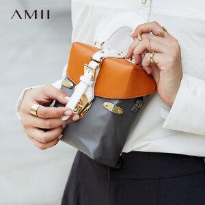 【品牌团 1件7折/2件5折】Amii[极简主义]撞色箱式皮包2017新款牛皮革按扣手提细肩带挎包