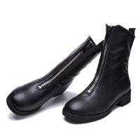 秋冬新款女鞋前拉链中筒女靴中跟粗跟时尚马丁靴百搭靴子短靴