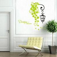 路灯藤蔓玄关走廊装饰墙贴可移除创意时尚贴纸欧式吊灯绿叶墙贴画