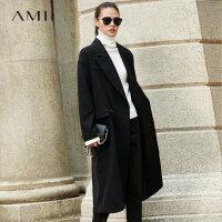 Amii[极简主义]硬朗帅气双排扣羊毛呢外套女2017冬装新款厚长大衣