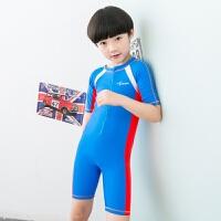 儿童泳衣女童连体韩宝宝可爱防晒速干大小童泳装男童游泳衣 湖蓝红边 S(80-95CM)