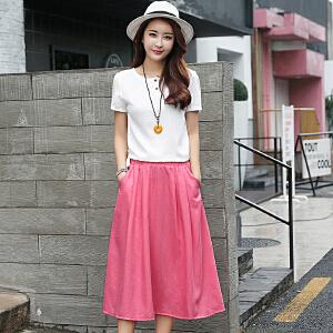【超划算棉麻套装】RANJU 然聚女装夏季新品新款棉麻连衣裙女装时髦套装裙两件套亚麻长裙子潮