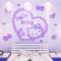 Hellokitty贴纸3d立体墙贴自粘卧室客厅儿童房床头背景墙装饰贴画 KT猫爱心(紫色) 超