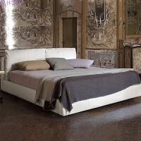皮床双人床1.8米简约现代软床婚床小户型皮艺主卧室家具 椰棕床垫