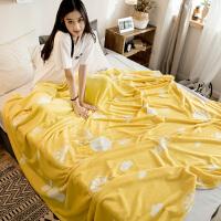 珊瑚绒毯子冬季加厚羊羔绒毛毯单人学生宿舍法兰绒双人盖毯被子 柠檬黄 盛夏橙黄