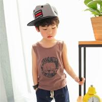 儿童背心男童无袖t恤纯棉薄款夏季2017新款可爱卡通宝宝上衣韩版