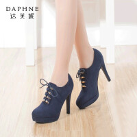 Daphne/达芙妮时尚舒适系带金属装饰细高跟防水台深口单鞋