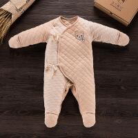 婴幼儿服装冬季加厚天然彩棉连身衣 新款柔软舒适婴儿连体哈衣