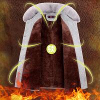 妈妈装加绒加厚大码毛呢外套中老年女装秋冬装中长款棉衣lm 加绒酒红(毛领可拆卸) XL(建议90-115斤)