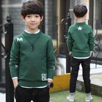 韩版中大童男孩套头针织打底衫 儿童装男童毛衣2017新款秋冬装上衣 绿 色