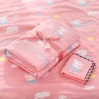 新生婴儿纱布浴巾纯棉六层宝宝儿童盖毯抱被吸水洗澡加厚抱被 6层 小猪粉色