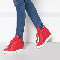 达芙妮集团鞋柜冬季内增高坡跟女鞋系带高帮鞋-1