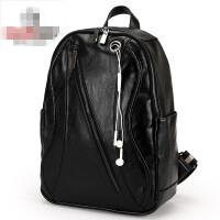 香港潮牌男包双肩包时尚背包真皮牛皮大容量耳机洞学生书包休闲 黑色