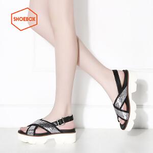 达芙妮旗下SHOEBOX/鞋柜夏款亮面交叉绑带凉鞋厚底松糕底中跟女鞋