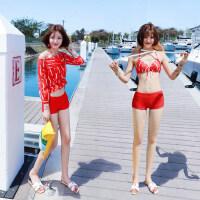 比基尼女泳衣三件套平角性感小胸聚拢遮肚显瘦红色游泳衣