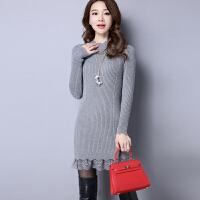 蕾丝秋冬季半高领中长款羊绒衫女毛衣套头新款针织打底羊毛衫