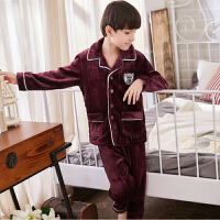 秋冬季大童男生家居服套装秋季新款儿童睡衣男童法兰绒男孩珊瑚绒 如图