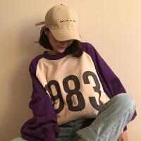春秋女装韩版原宿风中长款宽松字母拼色加厚长袖套头卫衣上衣外套