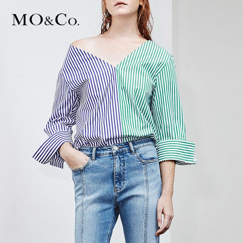 MOCO夏季新品V领撞色纯棉条纹拼接上衣MA182TOP117 摩安珂 满399包邮 撞色条纹拼接 错位衣摆剪裁