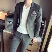 17春季新品韩版西服青少年新郎轻柔面料男士修身优雅休闲白西装