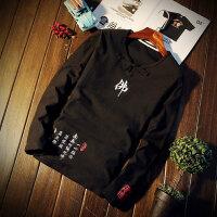 春季男士长袖T恤韩版修身中国风打底衫大码男装加肥胖子秋衣 X