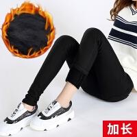 加绒加厚打底裤女冬季外穿保暖长裤显瘦小脚裤超厚高腰黑色加长