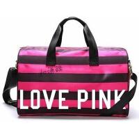 短途旅行包运动包游泳包手提行李袋瑜伽包防水健身包女包健身 love pink黑色条纹