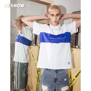 viishow2018夏季新款POLO衫 男士方领短袖T恤潮牌半袖宽松帅气